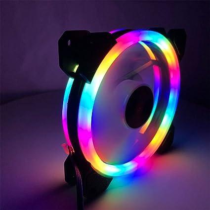XuBa - Ventilador LED de 12 cm, luz Blanca, Doble círculo, Color ...