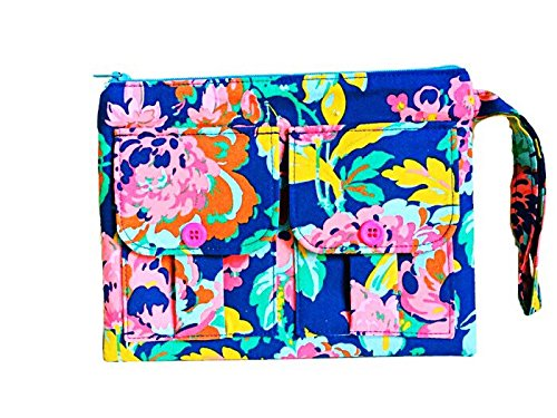Gretchen Blue Floral Wristlet, Wallet Wristlet for Women, Wristlet Purse, Smartphone Wristlet
