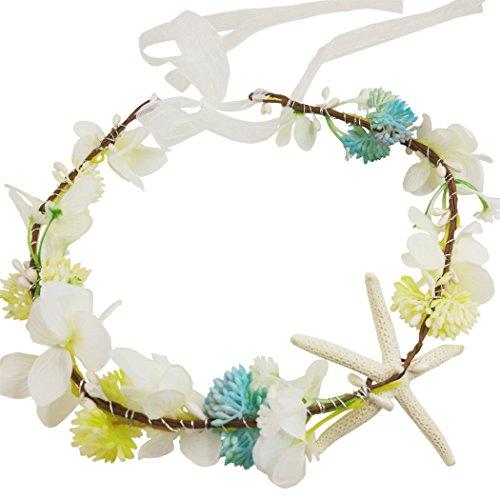 Hixixi Handmade Beach Wedding Bridal Starfish Headband Flower Mermaid Garland(White)