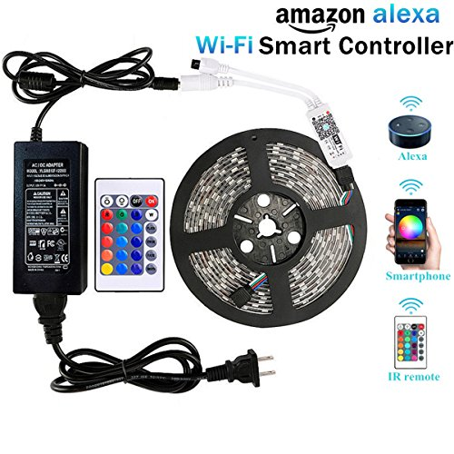 WenTop Wifi Wireless Smart Phone Controlled Led Strip Light Kit with DC12V UL Listed Power Supply Waterproof SMD 5050 16.4Ft(5M) 300leds RGB Tape Lights with Timer and Work with Android, IOS and Alexa