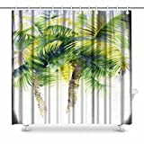 InterestPrint Watercolor Painting with Tropical Palm Trees, Painted in India Prints Shower Curtain for Bathroom Decorations Sets, 72 x 72 Inches