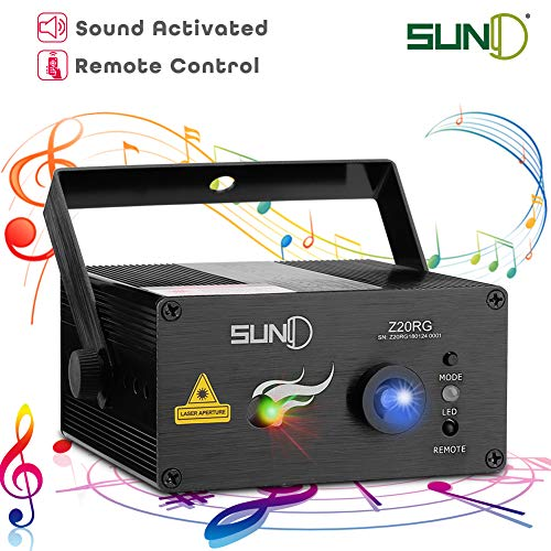 SUNY Music Laser Projector DJ Laser Lights 20 Patterns Red Green Stage Lighting Blue LED Remote Control Sound Activated Xmas Party Indoor Family Wedding Decoration Carnival Holiday Bar Disco -