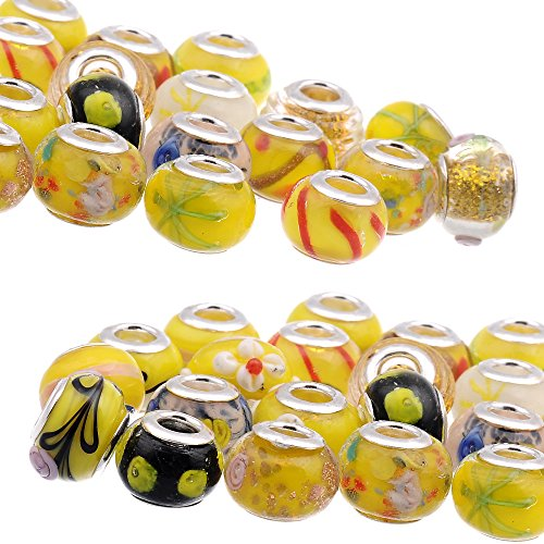 RUBYCA Mix Yellow Murano Lampwork Glass Bead Rondelle European Charm Bracelet Silver Color 30pcs ()