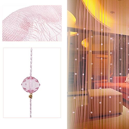 - Wabrina 1x2 M Fashion Decoration Beaded String Curtain Door Divider Crystal Beads Tassel Screen Curtain Beads Panel for Wedding Coffee House Restaurant Parts, Pink