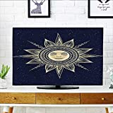 Leighhome Cover for Wall Mount tv Occult Sun with Face Boho Chic Esoteric Solar Spiritual Display Yellow Dark Blue Cover Mount tv W36 x H60 INCH/TV 65''