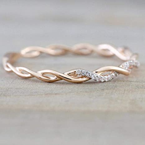 Women Girls Statement Ring Diamond Band Ring Cuekondy Mum Silver Ring Two Tone Rose Gold Rings Jewelry Best Gift For Mother