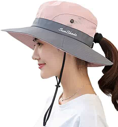 50e0b8d5 Lanzom Women's Wide Brim Outdoor UV Protection Foldable Mesh Beach Sun Hat  Fishing Cap