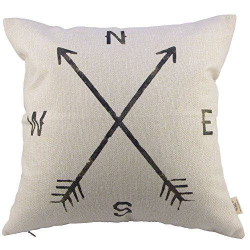Cotton Linen Square Decorative Throw Pillow Case Cushion Cover (Compass), 18
