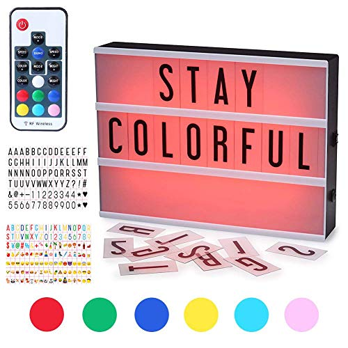 Light Up Cinema Box 7 Colours Changing A4 Size 210 Letters LED DIY Message Sign Box Battery/USB Powered Wireless Remote Control