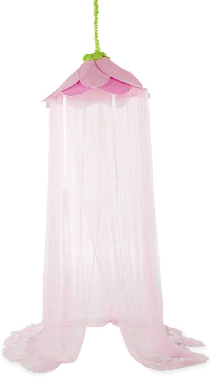 HearthSong Secret Garden Hideaway Canopy with Ribbons, Flower Canopy, and Nylon Tie-Backs, 7'H x 12' Circumference in Pink…