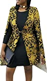 UUYUK Women's Fashion Africa Print Cloak Balzer Jackets Black US L