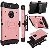 zte zmax swivel clip - Zenic for ZTE Blade Z MAX Case, ZTE ZMAX PRO 2 Case, Zenic Heavy Duty Shockproof Hybrid Full-body Protection Case Cover with Swivel Belt Clip and Kickstand for ZTE Sequoia/Z982 (Rose Gold)