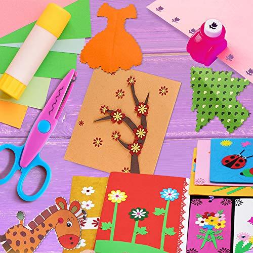 Koogel Kinder Bastelscheren Set, 6 Stk. Kinder Zickzackschere mit 8 Stk. Papierstanzer, Bunte Kinderschere für Kreatives Basteln Dekor DIY Fotogestaltung
