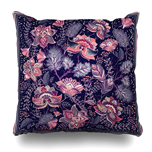 Old Indonesia Batik - InnoDIY Throw Pillow Covers Malaysia Pink Flower Pocket Shawl for Floral Feminine Pattern Nature Batik Indonesia Indonesian Ethnic Pillowslip Square Size 18 x 18 Inches Cushion Cases Pillowcases