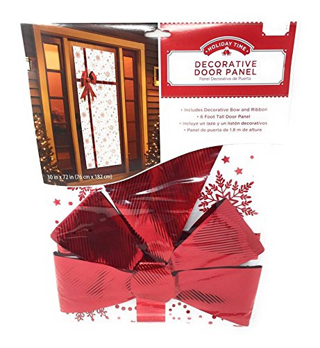 GreenBrag Christmas Holiday Snow Flurry Door Panel Cover w/Red Bow