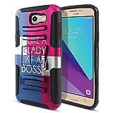 Samsung Galaxy J7 2017/ J7V J727 Sky Pro Perx Moniker 5.5 inch Case, Fincibo (TM) Dual Layer Hybrid Armor Heavy Duty Hard Protector Cover Built-in Kickstand Stand TPU, Act Like Lady Think Like Boss