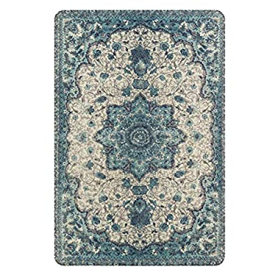 Lahome Collection Traditional Vintage Floral Area Rug - 2' X 3' Non-Slip Medallion Vintage Area Rug Small Accent Distressed Throw Rugs Floor Carpet for Door Mat Entryway Bedrooms Decor (2' X 3, Blue) - EXCLUSIVE DESIGN CONCEPT - Lahome Area Rug's pattern is distinctive, which own fine workmanship and has a variety of patterns to choose, is a great decoration for your home. They're a great way to show your personal style and suit the fussiest of feet. NON-SLIP BACKING - Crafted with the highest quality 100% faux wool fibers with skid resistant TPR backing(No Additional Rug Pad Needed), Non slip latex backing design is an ideal for laminate and wooden floor surfaces. DIMENSIONS - The Lahome rug size is 2'x 3' (60 x 90 cm), surprisingly soft for being touch friendly and plush yet stand up to high traffic, which is comfortable, warm and breathable, providing great comfort for your bare feet. - living-room-soft-furnishings, living-room, area-rugs - 51LlElXVdvL. SS400  -