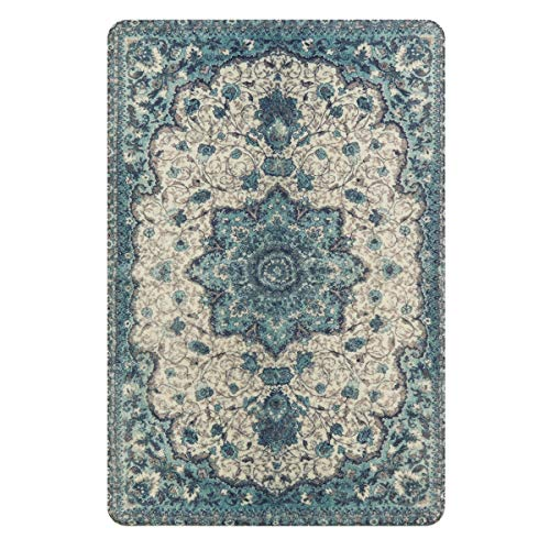 Lahome Collection Traditional Vintage Floral Area Rug - 2' X 3' Non-Slip Medallion Vintage Area Rug Small Accent Distressed Throw Rugs Floor Carpet for Door Mat Entryway Bedrooms Decor (2' X 3, Blue) (Mats Door Oriental)