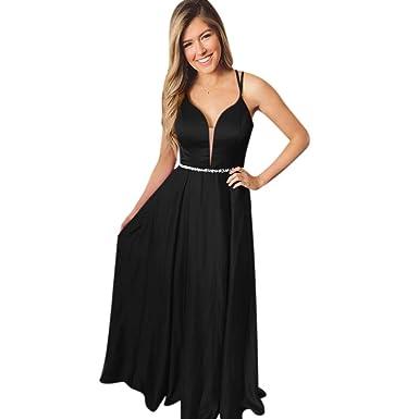 2c0e4b79f72 ElenaDressy Elegant A Line Ball Gown Beaded Spaghetti Straps Prom Dresses  2019