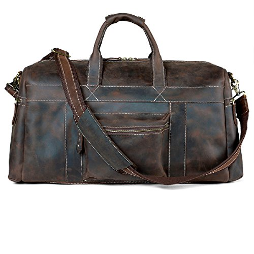 Leather Travel Bag Duffel Tote Vintage Buffalo Weekender Carry On Luggage Pabin by Pabin