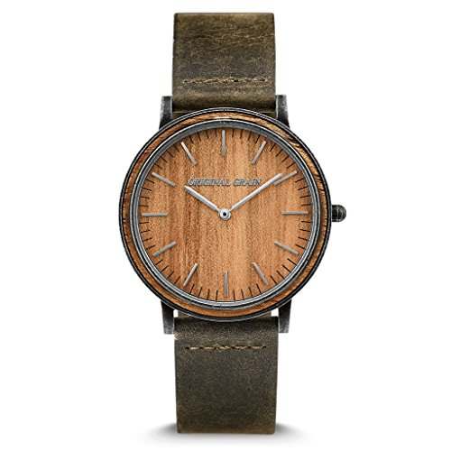 Original Grain Koa Stonewashed Wood Watch - Minimalist Collection Analog Watch - Japanese Quartz Movement - Wood and Stainless Steel - Water Resistant - Hawaiian Koa Wrist Watch - 40MM