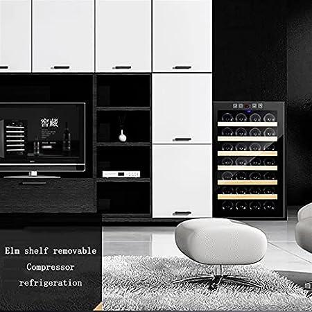 16 Botella de gabinete de Vino de compresor, refrigerador, Bodega Independiente incorporada, Control de Temperatura Digital, Puerta de Vidrio Templado (Color : Black, Size : 51 * 48 * 43cm)