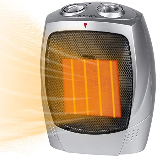 Ceramic Space Heater, 750W/1500W Portable Electric Heater with Adjustable Thermostat, Normal Fan and Safety Tip Over…