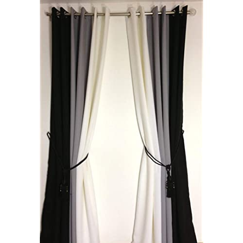 curtains black and white. Black Bedroom Furniture Sets. Home Design Ideas