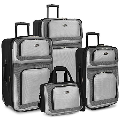 U.S. Traveler New Yorker 4-Piece Luggage Set in Silver Gray