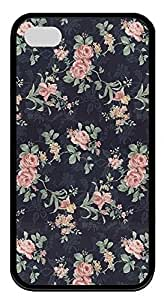 hard Black pc hard Case Cover for iPhone 4 4S,Retro Floral Rose Pattern Case for iPhone 4 4S,Dark Case for iPhone 4 4S