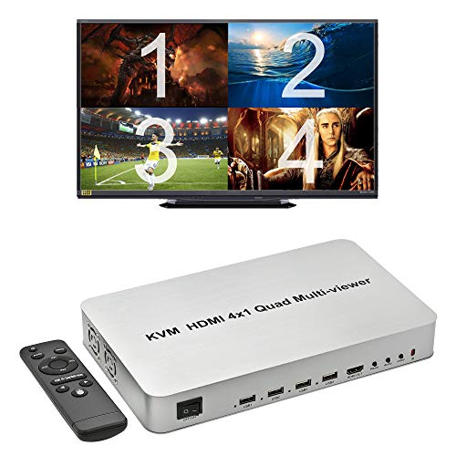 Expert Connect 4 Ports Quad HDMI KVM Multi-Viewer/Screen Divider/Switch   1080p @ 60Hz   5 Viewing Modes   USB Switch   Shares 4 USB Devices on 4 Computers
