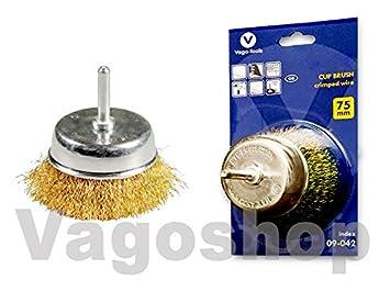 1 x Topfbürste Drahtbürste Schaft 75 mm  0,3 mm für Bohrmaschinen Bürsten