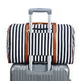 Weekender Bag Women Ladies Canvas Travel Duffel Tote Carry On Shoulder Overnight Bag (Blue-A) Review
