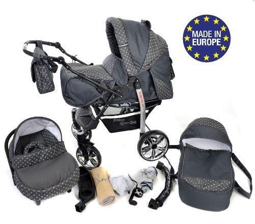 Sportive X2 - Sistema de viaje 3 en 1, silla de paseo, carrito con capazo y silla de coche, RUEDAS GIRATORIAS y accesorios (Sistema de viaje 3 en 1, gris, lunares)