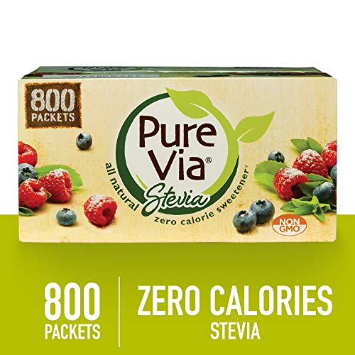(PURE VIA Stevia Sweetener Packets, Sugar Substitute, Natural Sweetener, Zero Calorie Natural Sweetener Packets, 800 Count)