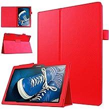 ANGELLA-M Lenovo 10 TB-X103F Case, Slim Fit Premium Litchi Texture PU Leather Folio Stand Cover for Lenovo 10 TB-X103F /Tab 2 A10-30 /Tab2 X30F - Red