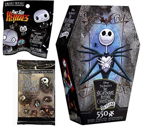 A Puzzling Jack Skellington Mini Figure Nightmare Before Christmas Exclusive Jigsaw Coffin Box Set + Blind Mini Character Trick-Or-Treat Halloweentown Trading Card Pack 3 Items