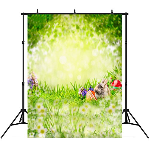 5x7ft Spring Photography Backdrops Vinyl Red Eggs Flowers Rabbit Photo Studio Backgrounds Props