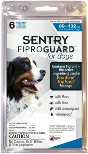Sentry Fiproguard 6-Dose Flea and Tick Topical Drops for Dogs, 89 to 132-Pound, My Pet Supplies