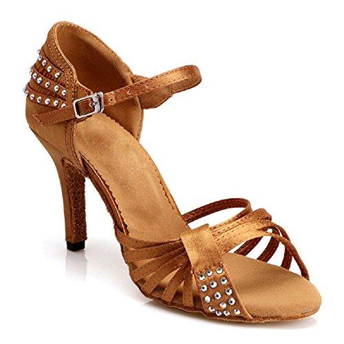 (DLisiting Womens Latin Dance Shoes Ballroom Satin Rhinestone Performance Shoes (US5.5) Brown)