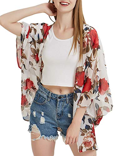- DREAGAL Women's 3/4 Sleeve Floral High Low Chiffon Kimono Cardigan Blouse 3XL