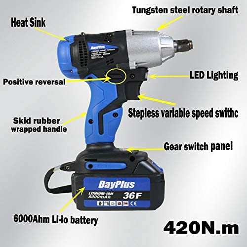 18V Cordless Impact Wrench Ratchet Driver Nut Tool Set Li-Ion Battery 6000Amh 420N.m, Dual Speed Fast Charge + Case & 4 Sizes Sockets(14mm 17mm 19mm 22mm)