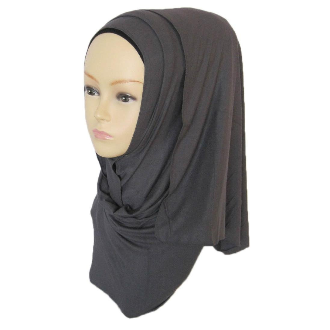 DZT1968 Women daily Cotton Sweat Long Scarf Muslim Hijab Arab Wrap Shawl Headwear (Gray)