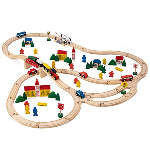 Wooden Train Set - Railway Train Set Toys for Kids and Toddlers - 100-Piece Complete Set with Buildings, Figurines, Trains, Road Signs - Premium Quality Wood - Fun & Entertaining ()