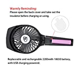 Cxy Portable Misting Fan, Handheld Foldable USB Fan with Rechargeable 2200mAh battery for outdoor activity such as Traveling Hiking climbing or used Indoor table. (Black)