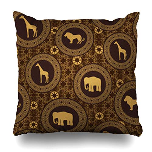 GisRuRu Throw Pillow Covers Ethnic Brown Safari African Stile Pattern Yellow Elephant Africa Lion Abstract Home Decor Sofa Pillowcase Square Size 16 x 16 Inches Cushion Cases
