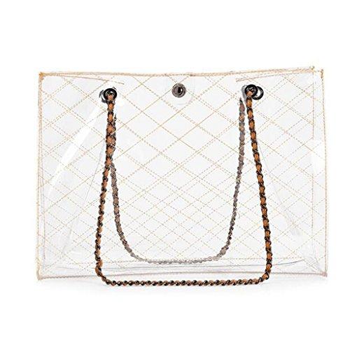 Il A Per Da Jelly Donna Tracolla Impermeabile Beach Borsa Shoulder Black colore Handbag Libero Tempo Trasparente Liu White Transparent q5YXwAt