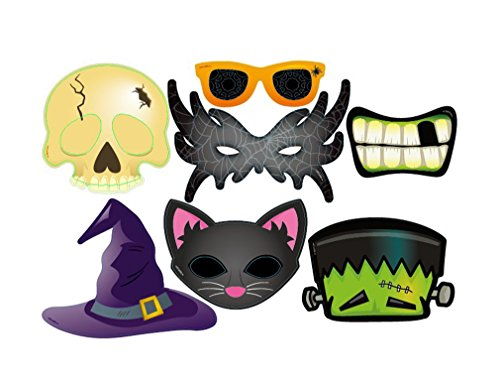 7PCS Colourful Photo Booth Props Fun Selfies - Halloween Theme - Dress-up Accessories Costumes with Glasses Mask Mouth Cat Hat -