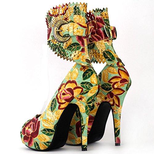Mostrar historia multicolor patrón Floral o Animal Gladiador plataforma bombas, LF30402 multicolor - New Green