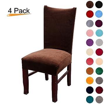 Juego de 2 fundas elásticas de terciopelo para sillas de comedor y sillas de comedor, tamaño grande, color negro Pack de 4 Dark Coffee
